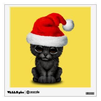 Cute Black Panther Cub Wearing a Santa Hat Wall Decal
