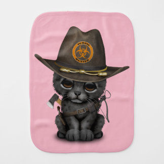 Cute Black Panther Cub Zombie Hunter Burp Cloth