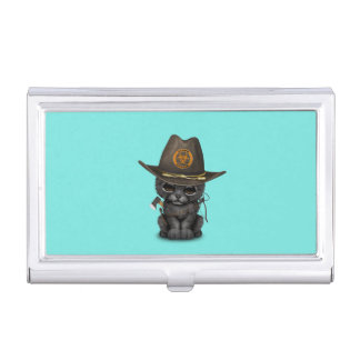 Cute Black Panther Cub Zombie Hunter Business Card Holder