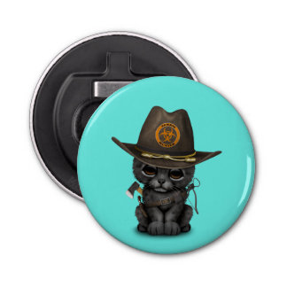 Cute Black Panther Cub Zombie Hunter Button Bottle Opener