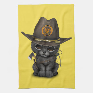 Cute Black Panther Cub Zombie Hunter Hand Towels