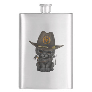 Cute Black Panther Cub Zombie Hunter Hip Flask