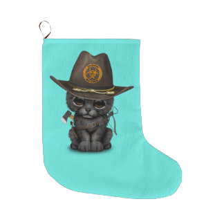 Cute Black Panther Cub Zombie Hunter Large Christmas Stocking