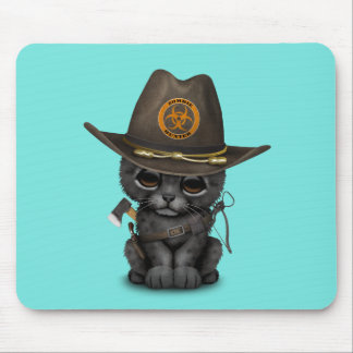 Cute Black Panther Cub Zombie Hunter Mouse Pad