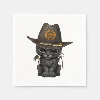 Cute Black Panther Cub Zombie Hunter Paper Napkin