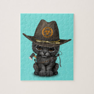 Cute Black Panther Cub Zombie Hunter Puzzles