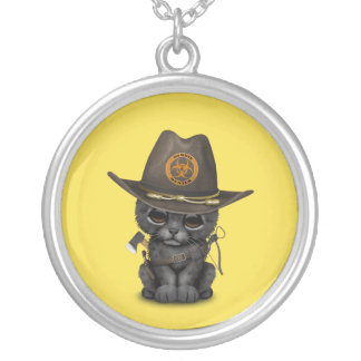 Cute Black Panther Cub Zombie Hunter Silver Plated Necklace