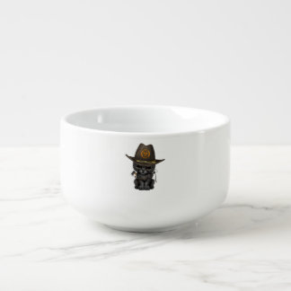 Cute Black Panther Cub Zombie Hunter Soup Mug