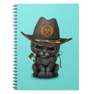 Cute Black Panther Cub Zombie Hunter Spiral Note Books