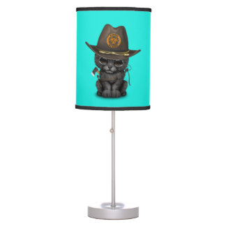 Cute Black Panther Cub Zombie Hunter Table Lamp