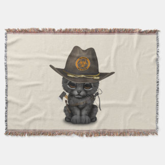 Cute Black Panther Cub Zombie Hunter Throw Blanket