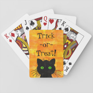 Cute Black Peek-a-Boo cat on Orange Background Playing Cards