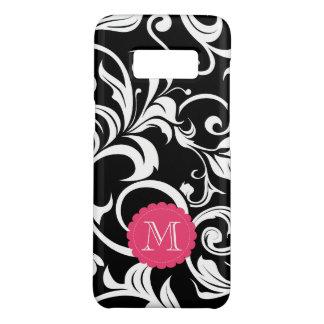 Cute Black Pink Floral Wallpaper Swirl Monogram Case-Mate Samsung Galaxy S8 Case