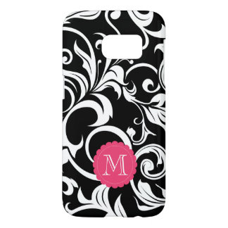 Cute Black Pink Floral Wallpaper Swirl Monogram Samsung Galaxy S7 Case