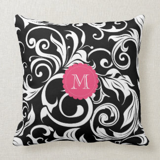 Cute Black Pink Floral Wallpaper Swirl Monogram Throw Pillow