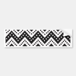Cute Black Polkadot Zigzags Bumper Sticker