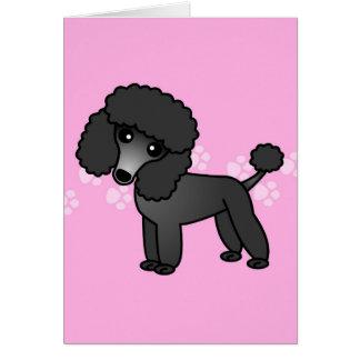 Cute Black Poodle Cartoon - Pink Pawprint Greeting Card