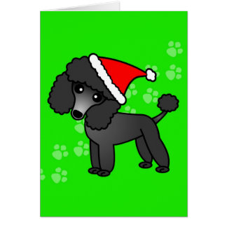 Cute Black Poodle Cartoon Santa Hat Greeting Card