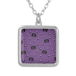 Cute Black Purple Photo Camera Pattern Silver Plated Necklace
