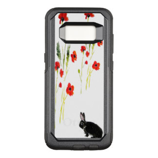 Cute Black Rabbit and Poppy Art OtterBox Commuter Samsung Galaxy S8 Case