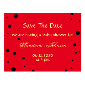 Cute Black Red Ladybug Save The Date Baby Shower Postcard