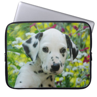 Cute black spotted Dalmatian Baby Dog Puppy Photo Laptop Sleeve