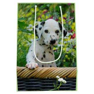 Cute black spotted Dalmatian Baby Dog Puppy Photo Medium Gift Bag