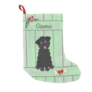 Cute Black Teacup Poodle Green Fence Monogram Small Christmas Stocking