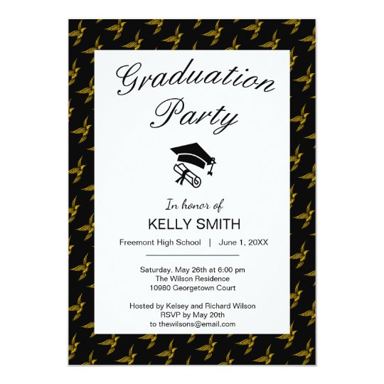 Cute black vintage gold eagle graduation party card
