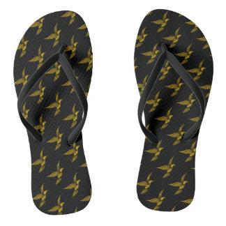 Cute black vintage gold eagle patterns flip flops