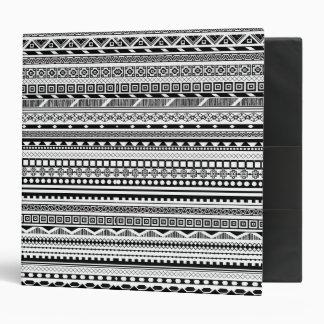 Cute black white aztec patterns design 3 ring binders