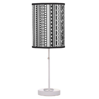 Cute black white aztec patterns design desk lamps