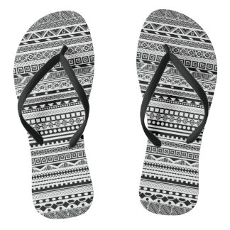 Cute black white aztec patterns design flip flops