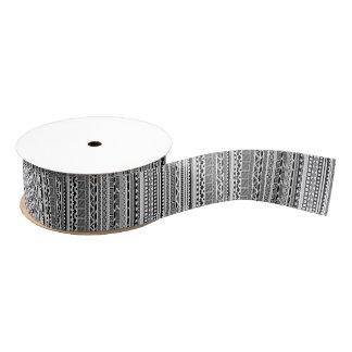 Cute black white aztec patterns design grosgrain ribbon