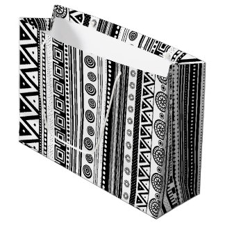 Cute black white aztec texture large gift bag