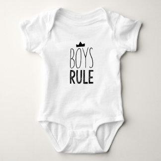 Cute black white baby onsie - boys rule quote baby bodysuit