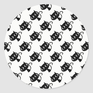Cute black white cats patterns classic round sticker