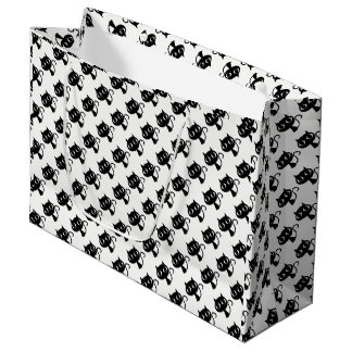 Cute black white cats patterns large gift bag
