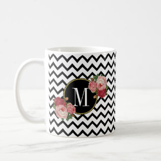 Cute Black White Chevron Vintage Roses Monogram Coffee Mug