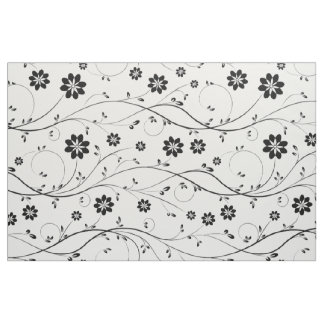 Cute Black & White Delicate Floral Pattern Fabric