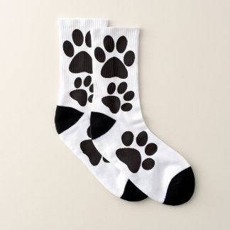 Cute Black & White Dog Paws All-Over-Print Socks 1