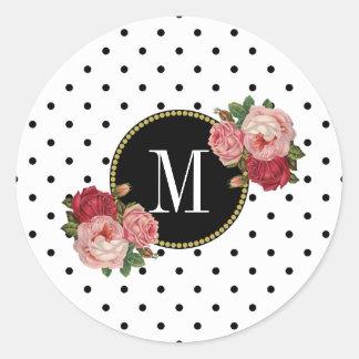 Cute Black White Dots Vintage Floral Gold Monogram Classic Round Sticker