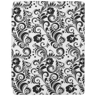 Cute black white floral background design iPad cover