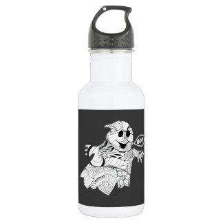 Cute black white floral ghost with boo Halloween