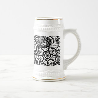 Cute black white floral paisley beer stein