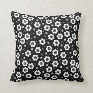 Cute black white flowers Pillow