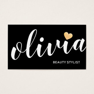Cute Black White Gold Heart Calligraphy Business Card