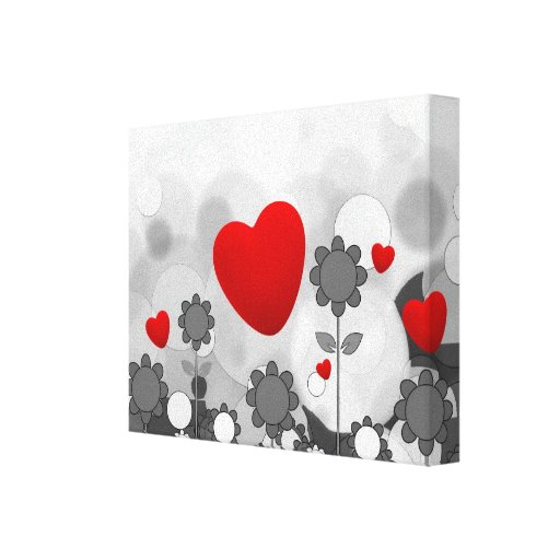 Cute Black/White/Grey Flowers w/Big Red Heart Gallery Wrap Canvas
