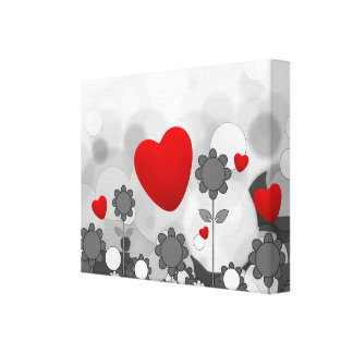 Cute Black/White/Grey Flowers w/Big Red Heart Canvas Print