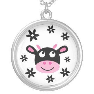 Cute Black & White Happy Cartoon Flower Cow Round Pendant Necklace
